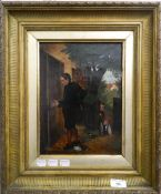 ENGLISH SCHOOL (19th/20th century) Boys Playing a Prank, oil on canvas, signed with initials WEF,