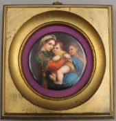 After MURILLO, a hand painted circular porcelain plaque depicting the Madonna and Jesus,
