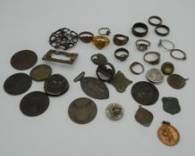 A quantity of various metal detector finds