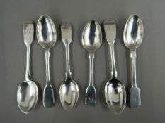 Six large Fiddle pattern tea/coffee spoons by Robert,