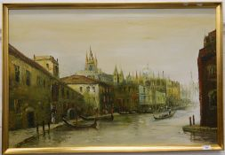 A framed oil on canvas, Venice Canal Scene, indistinctly signed. 90 cm wide.