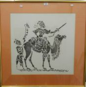 Two unframed Chinese watercolours and an Eastern framed picture of a Figure on a Camel.