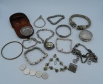 A quantity of miscellaneous silver jewellery, coins, etc.