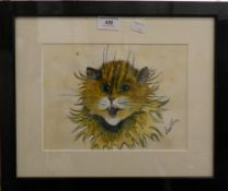 After LOUIS WAIN, The Ginger Cat, watercolour, framed and glazed.