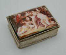 A silver and enamel pill box. 3.5 cm wide.