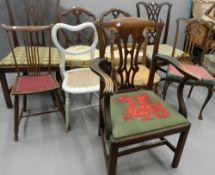 A quantity of various 19th century chairs