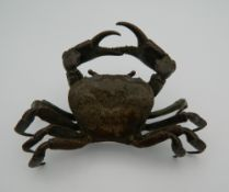 A large Japanese bronze model of a crab. 11 cm wide.