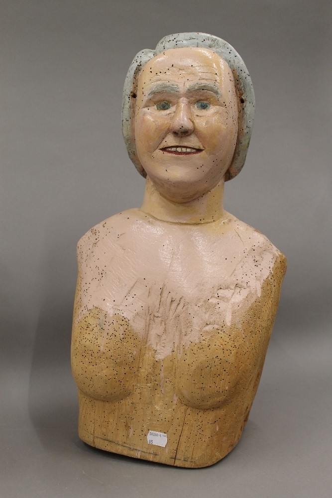 Two Folk Art painted carved wooden busts, one male, the other female. The male 52.5 cm high. - Image 4 of 5