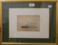WT SUTTON (flourished 1874-1920), HMS Flora, watercolour, framed and glazed. 16.5 cm wide.