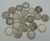 Twenty silver threepences pieces,