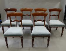 A set of six Victorian mahogany dining chairs. 45 cm wide.
