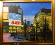 JT RENNISON, Piccadilly Circus, photorealism oil on canvas, framed. 61 cm wide.