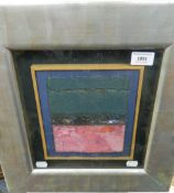 TOM HUTCHESON R.G.I, British, Place Recalled in layered pinks, mixed media, framed and glazed. 19.