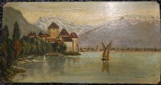 REV ALFRED HASTINGS, Alpine Lake, oil on board, unsigned. 21.5 cm wide.