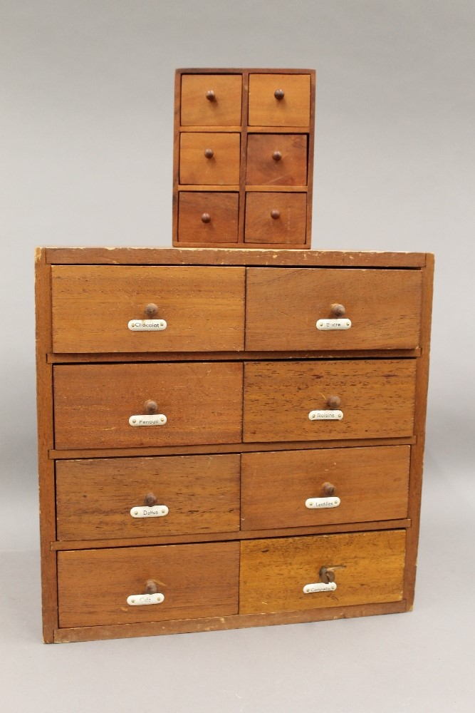 Lot 788 - Two sets of spice drawers. The largest 37 cm high.