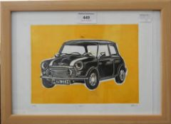 A limited edition print of a Classic Mini, indistinctly signed, numbered 3125, framed and glazed.