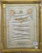 A Victorian Royal Opera silk, framed and glazed. 31 cm wide.