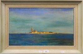 CHARLES SYKES, Venice from the Lagoon, oil on board, framed. 50 cm wide.