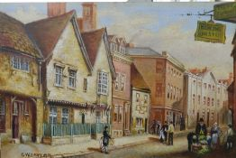 GW TAYLOR, Leicester Street Scenes, oils on board, a pair.