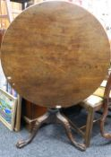A Georgian mahogany tilt top tripod table. 85 cm diameter.