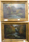 WILLIAMS THORNTON BROCKLEBANK (1882-1970), River Scenes, oils on board, a pair. 29 cm wide.