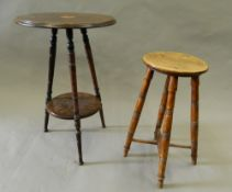 An Edwardian inlaid side table and a stool. Side table 42.5 cm diameter.