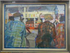 HERBERT KNIGHTS (20th/21st century) British, Rink 1, acrylic on board, framed. 93 cm wide.