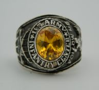 A silver US Army ring. Ring size X.