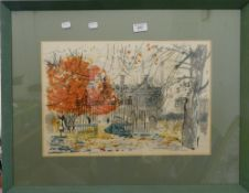 An Architectural View, coloured lithograph, indistinctly signed, framed and glazed. 48 cm wide.