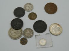 A quantity of various Georgian and Victorian coins, some silver, etc.