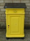 A marble topped yellow painted pot cupboard. 50 cm wide.