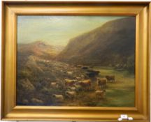 A Victorian oil on board, Highland Cattle in a Mountainous Landscape, framed. 72 cm wide.