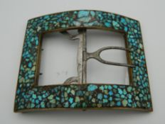 A turquoise set buckle. 7.5 cm wide.