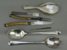 A quantity of various silver and plated items. Salad servers 33.5 cm long.