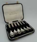 A cased set of silver teaspoons.