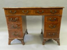 An early 20th century mahogany pedestal desk. 105 cm wide.