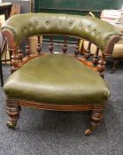 A Victorian mahogany tub armchair. 72 cm wide.