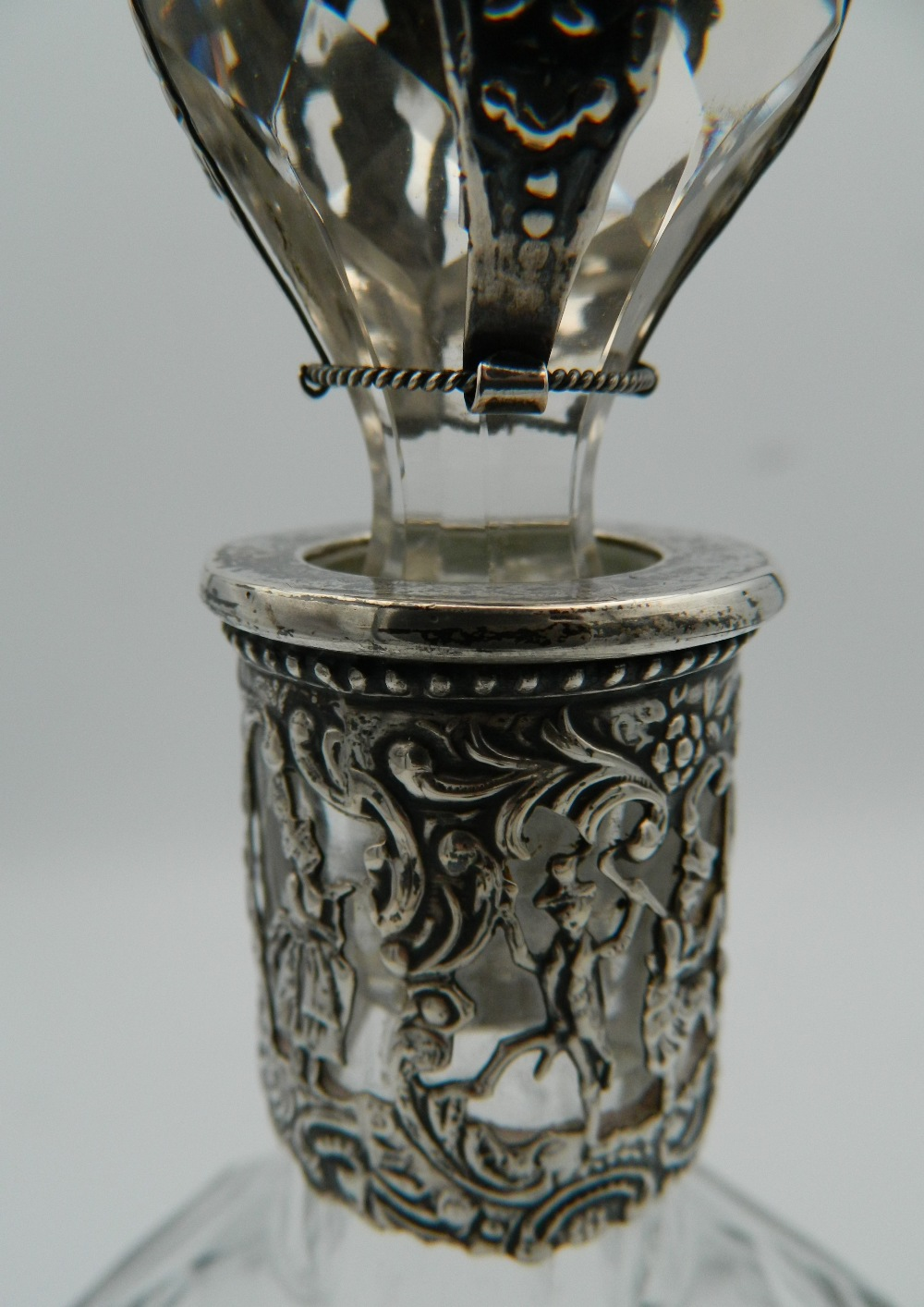 A Continental silver and cut glass decanter and stopper, the silver applied with figures, - Image 5 of 5