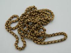 A Victorian longuard chain. 86 cm long.