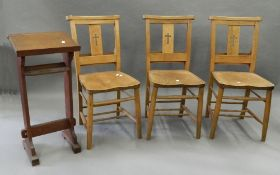 Three Chapel chairs and a prayer book stand. The stand 35.5 cm wide.