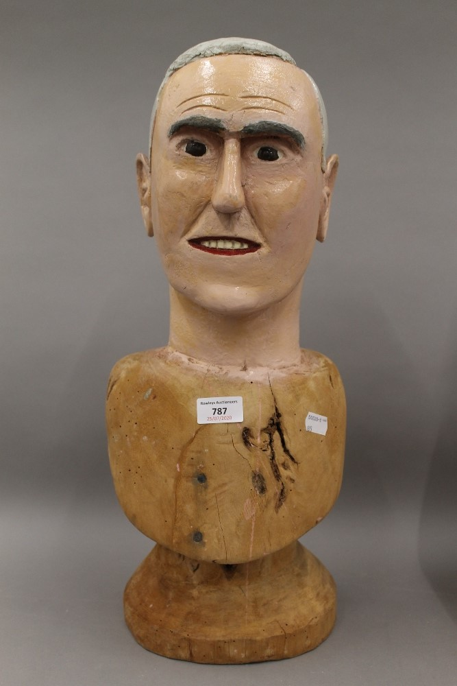 Two Folk Art painted carved wooden busts, one male, the other female. The male 52.5 cm high. - Image 2 of 5