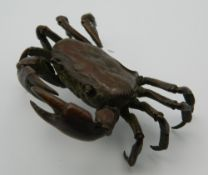 A large Japanese bronze model of a crab. 9 cm wide.