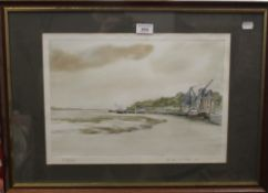 B J COATES, The Stow at Mistley, pencil and watercolour, dated 1980, framed and glazed. 40 x 27.