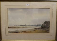 GUY TODD, Low Water, Iken, Suffolk, watercolour, signed, framed and glazed (53 x 22 cm),