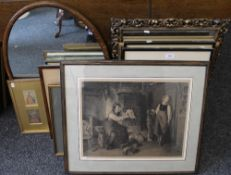 A large quantity of pictures, prints, mirrors, etc.