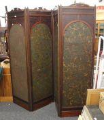 A Victorian leather set folding screen. 185 cm high.