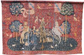 A large vintage wall hanging tapestry. 195 cm wide x 123 cm high.