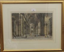 An engraving from Stowe's History of London, inside St. Paul's Cathedral, framed and glazed.