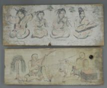 A pair of Chinese wood panels with painted musicians, unframed. The largest 55.5 x 23 cm.
