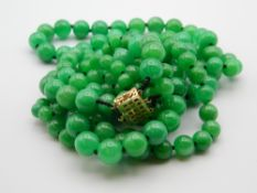 A three strand jade bead necklace with a 14 ct gold and diamond clasp. 50 cm long.